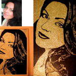 Портрет или картина по фотографии золотой пылью.
