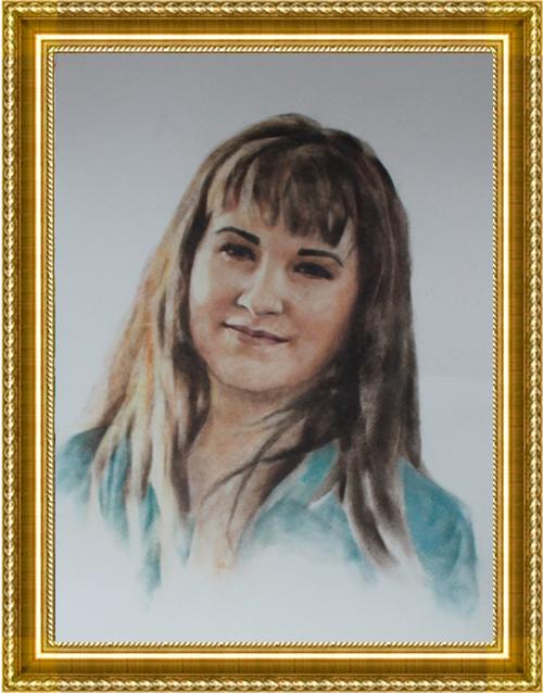 Портрет сухая кисть